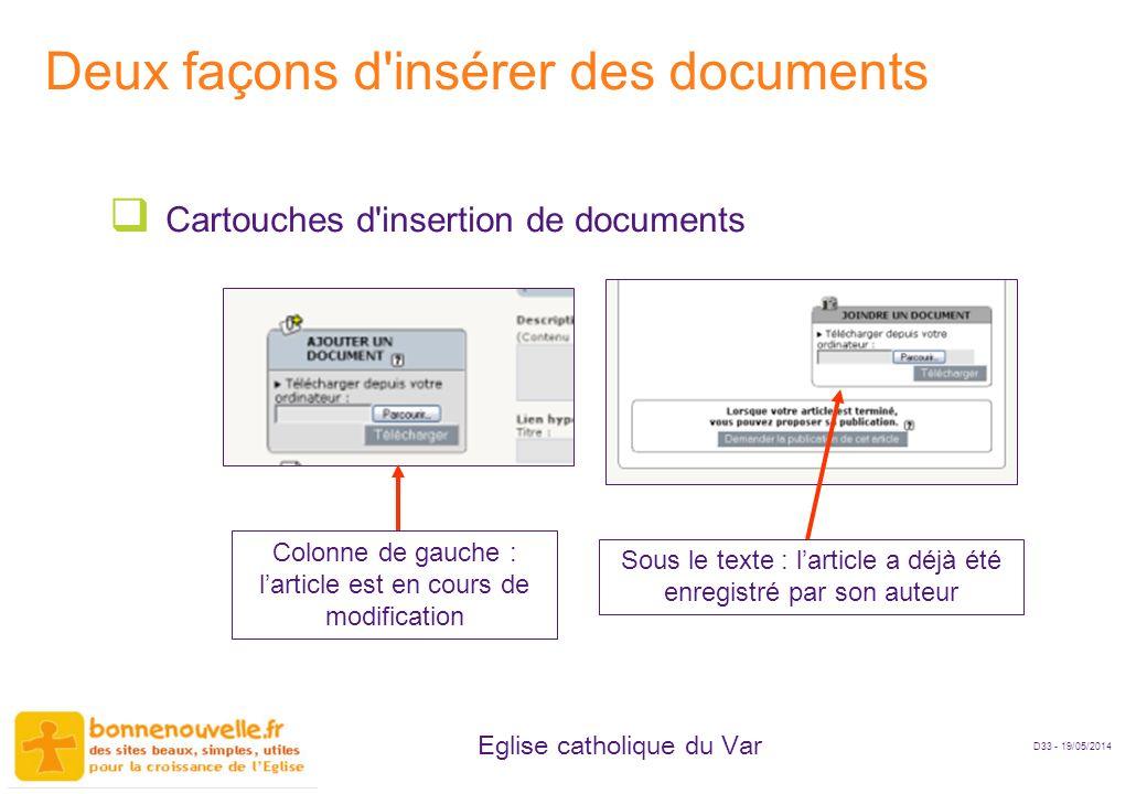 Deux façons d insérer des documents