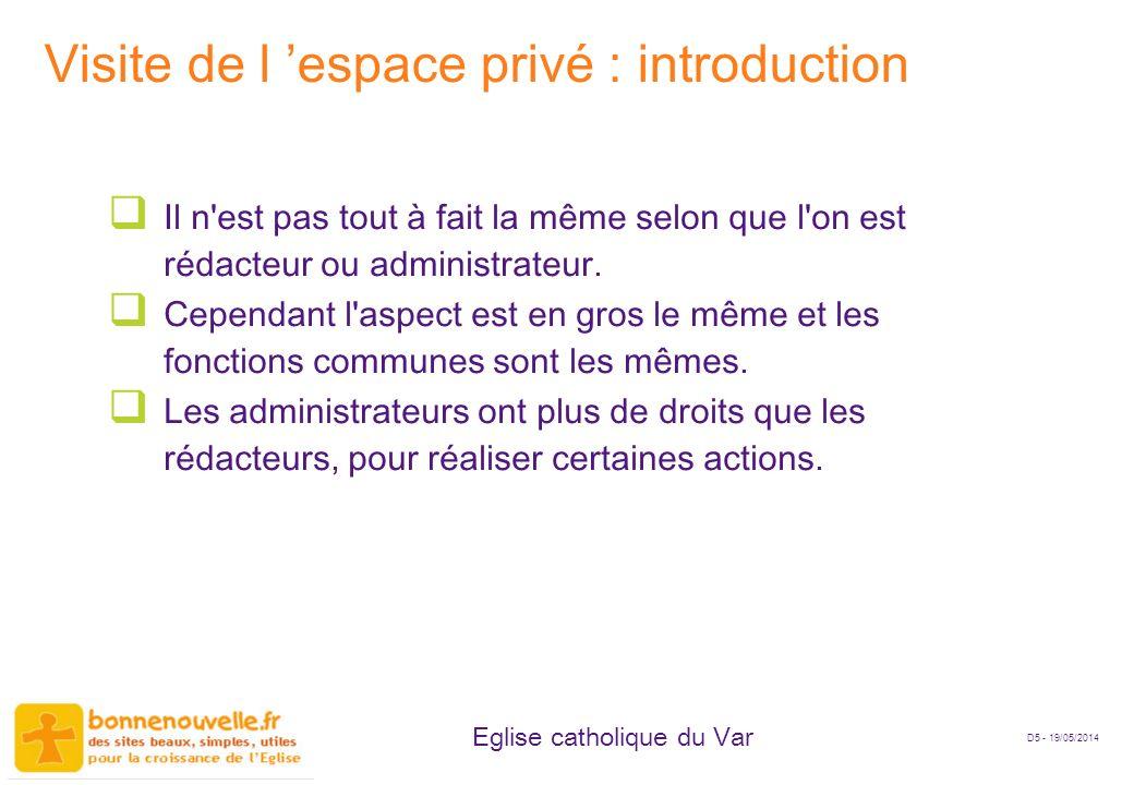 Visite de l 'espace privé : introduction