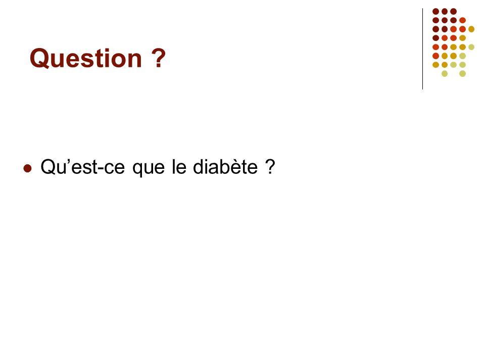 Question Qu'est-ce que le diabète