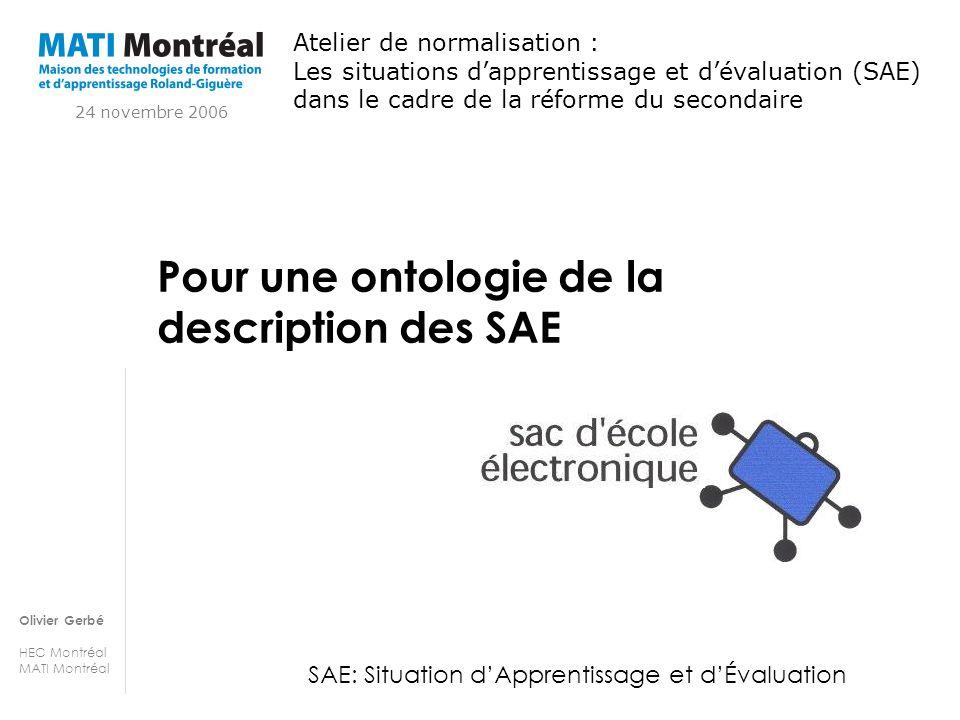 Pour une ontologie de la description des SAE