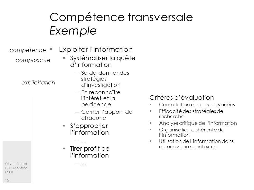 Compétence transversale Exemple