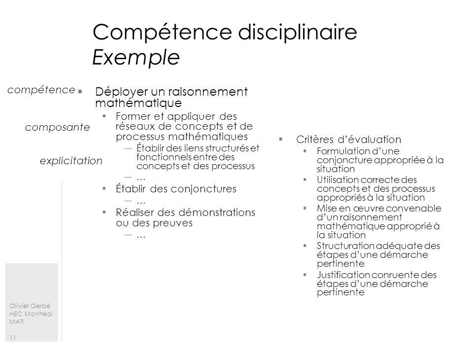 Compétence disciplinaire Exemple