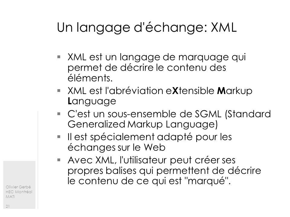 Un langage d échange: XML