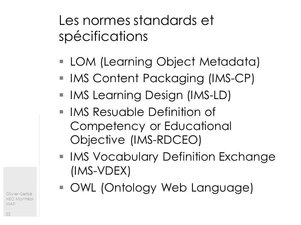 Les normes standards et spécifications
