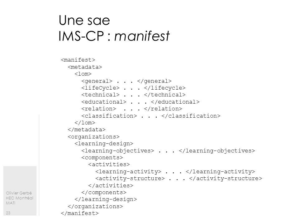 Une sae IMS-CP : manifest
