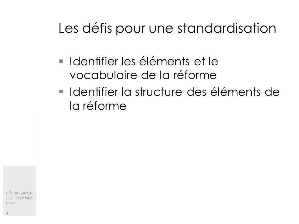 Les défis pour une standardisation