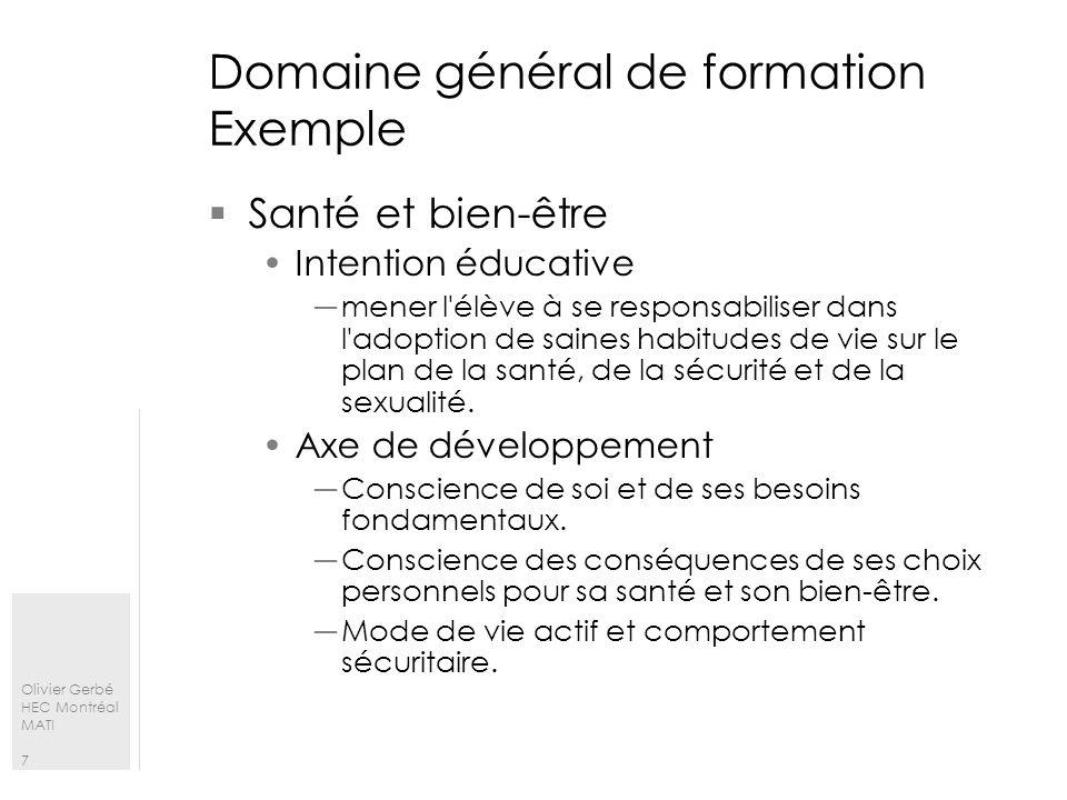 Domaine général de formation Exemple