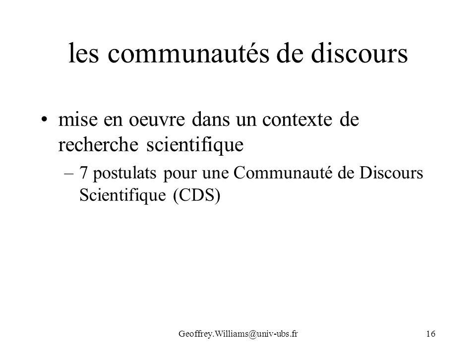 les communautés de discours