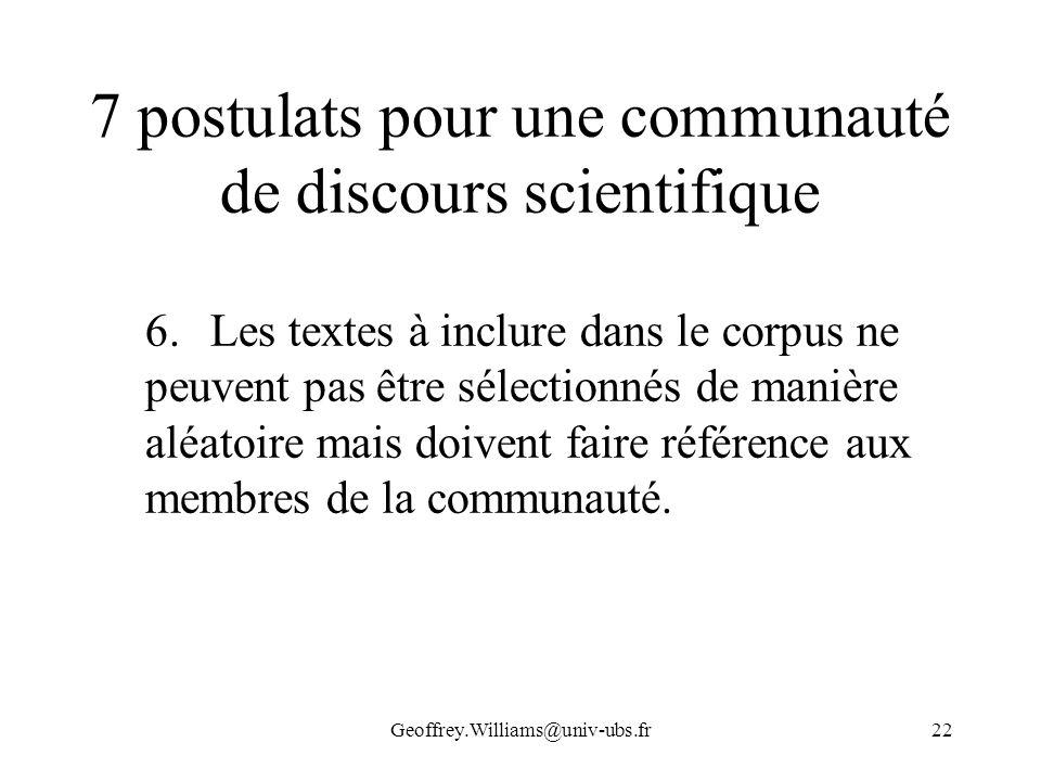 7 postulats pour une communauté de discours scientifique