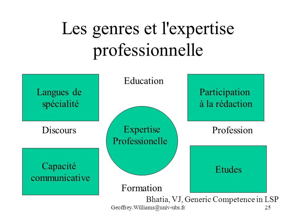 Les genres et l expertise professionnelle