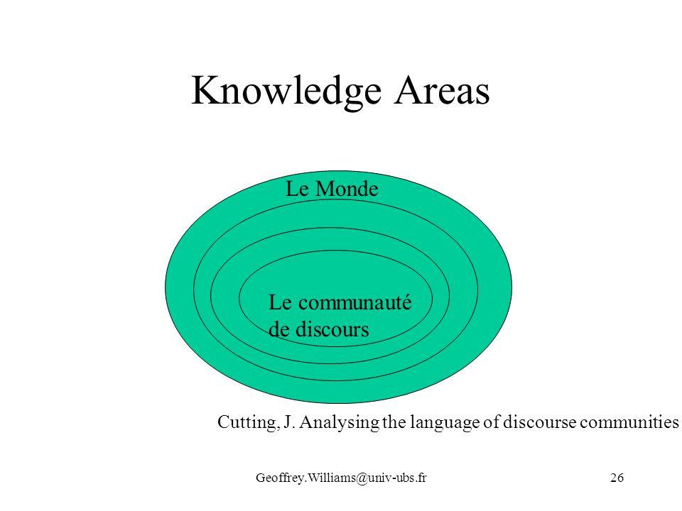 Knowledge Areas Le Monde Le communauté de discours