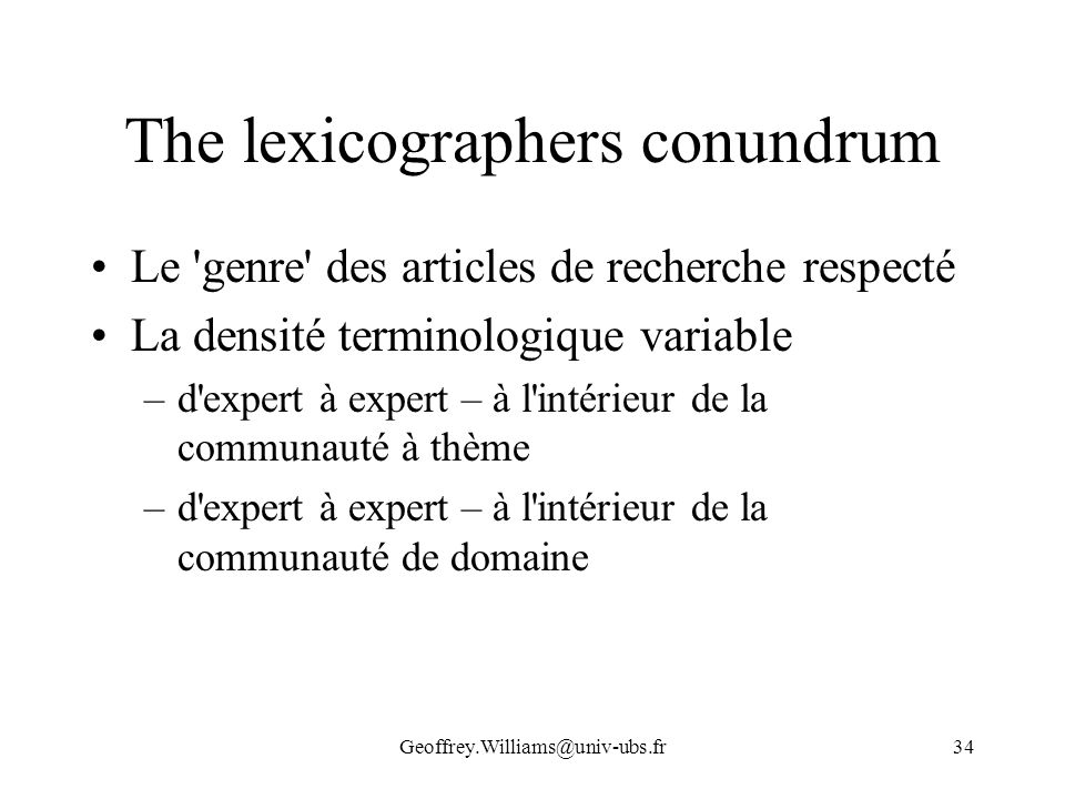 The lexicographers conundrum