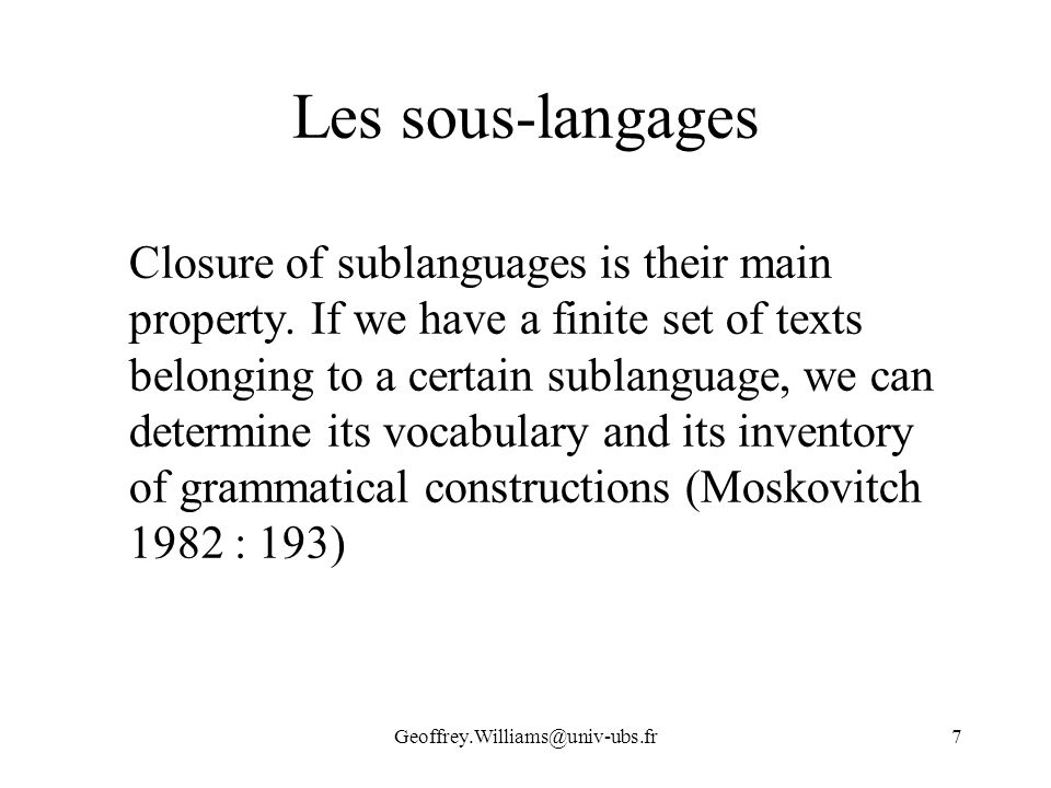 Les sous-langages