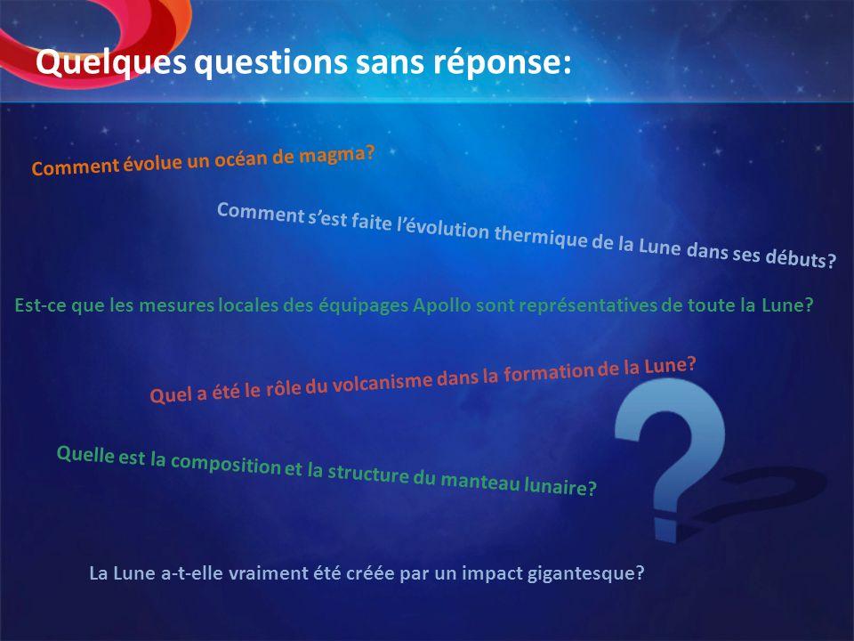 Quelques questions sans réponse: