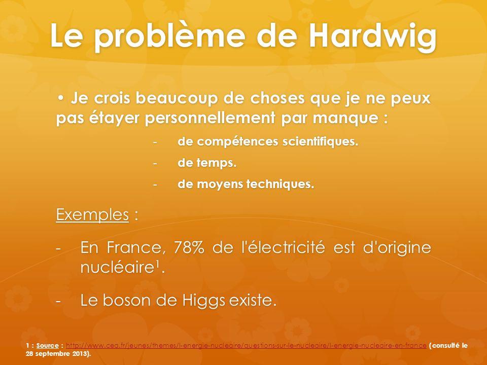 Le problème de Hardwig • Je crois beaucoup de choses que je ne peux pas étayer personnellement par manque :