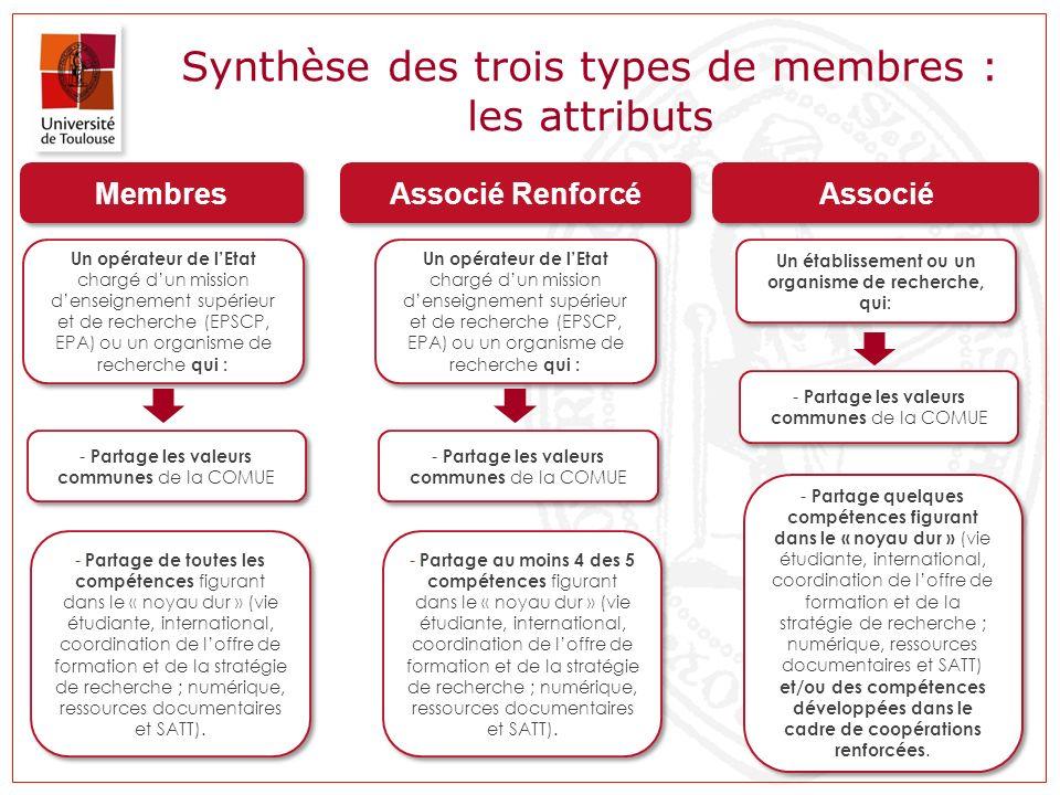 Synthèse des trois types de membres : les attributs