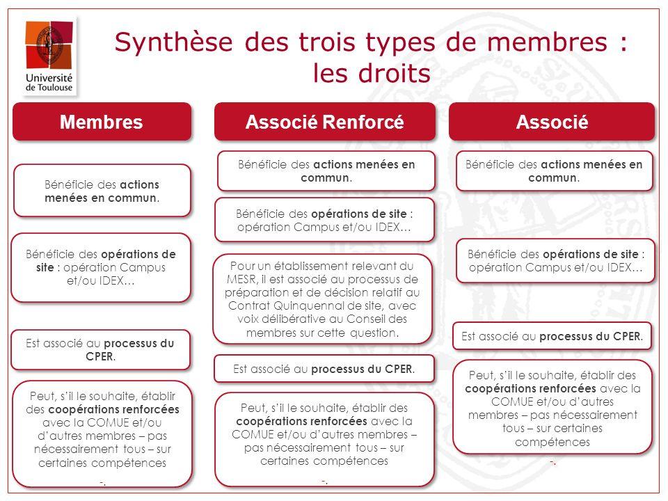 Synthèse des trois types de membres : les droits