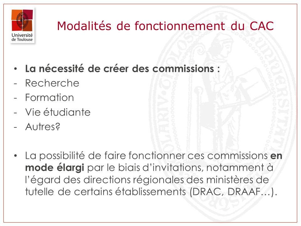 Modalités de fonctionnement du CAC