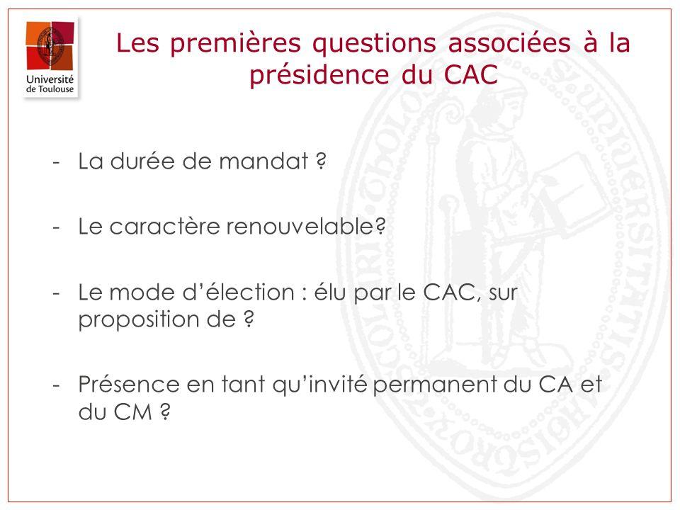 Les premières questions associées à la présidence du CAC