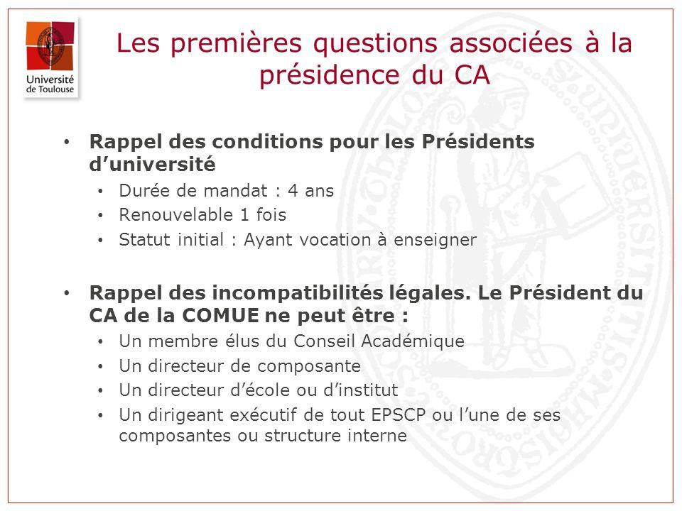 Les premières questions associées à la présidence du CA