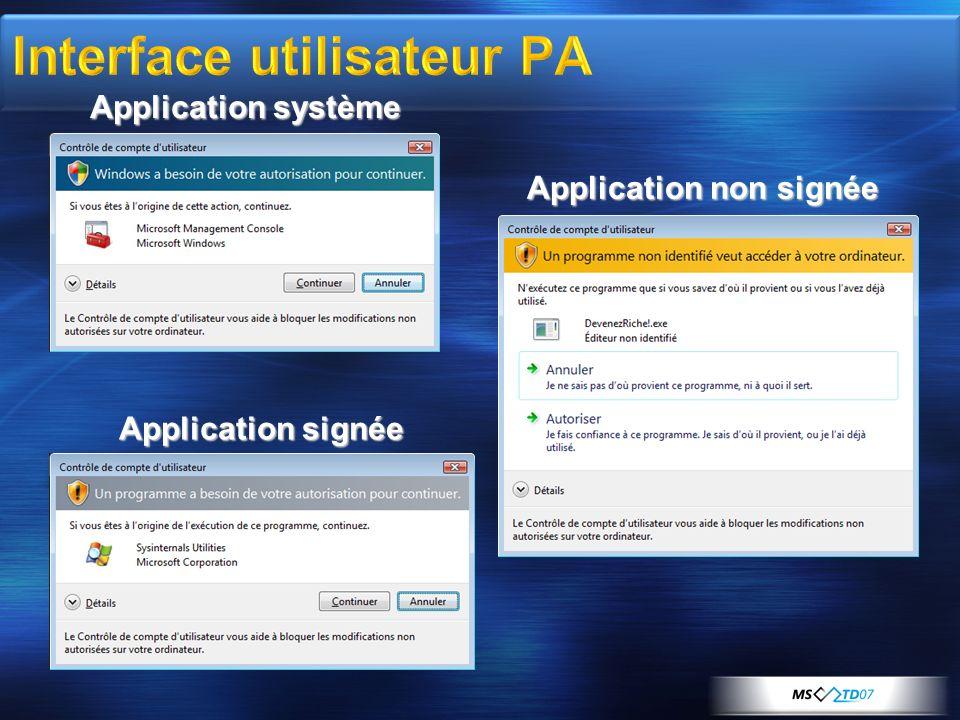 Interface utilisateur PA