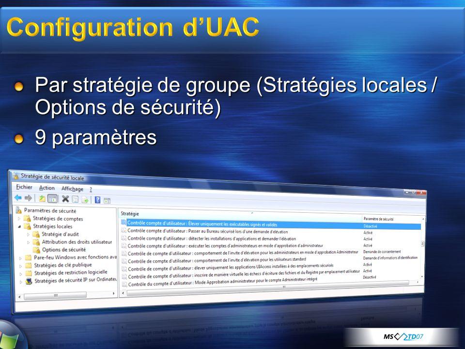 3/31/2017 6:24 AM Configuration d'UAC. Par stratégie de groupe (Stratégies locales / Options de sécurité)