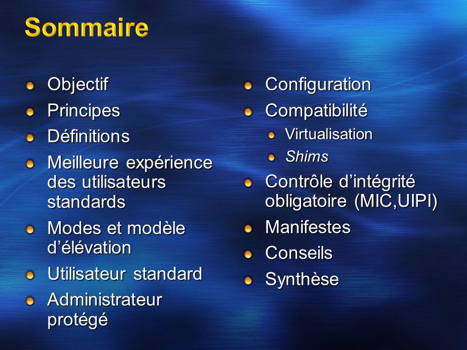 Sommaire Objectif Principes Définitions