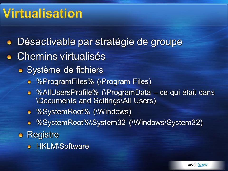 Virtualisation Désactivable par stratégie de groupe