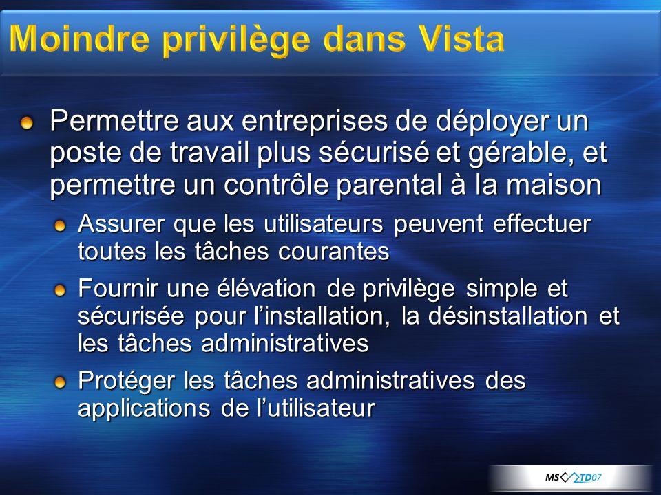 Moindre privilège dans Vista