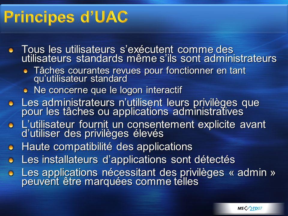 3/31/2017 6:24 AM Principes d'UAC. Tous les utilisateurs s'exécutent comme des utilisateurs standards même s'ils sont administrateurs.