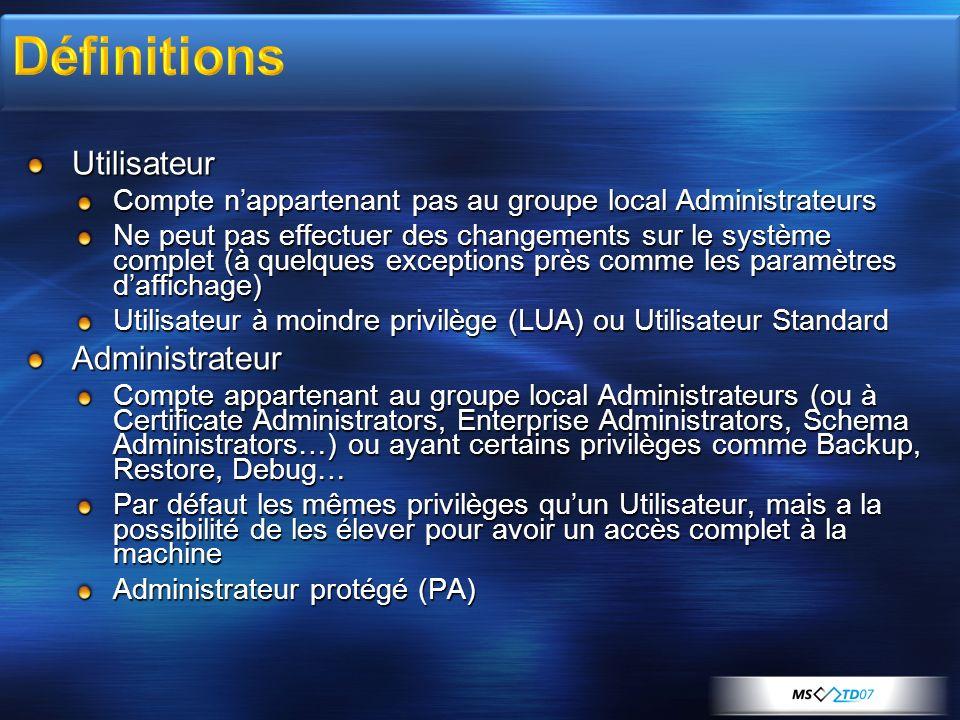 Définitions Utilisateur Administrateur