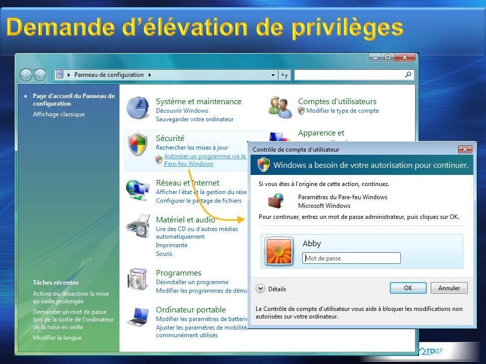 Demande d'élévation de privilèges