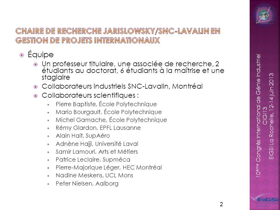 Chaire de recherche jarislowsky/SNC-Lavalin en gestion de projets internationaux