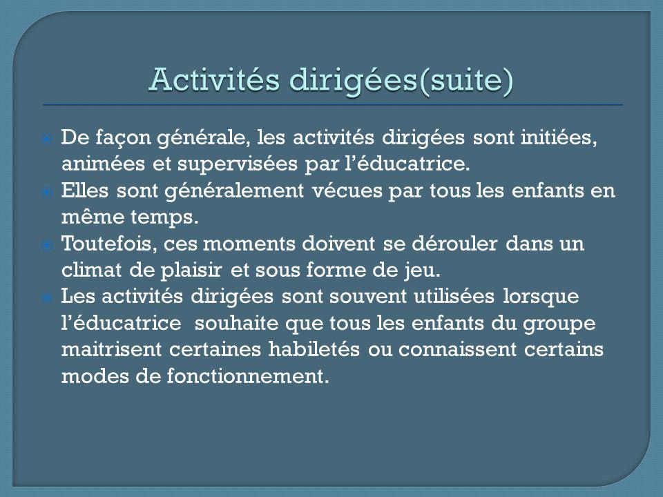 Activités dirigées(suite)