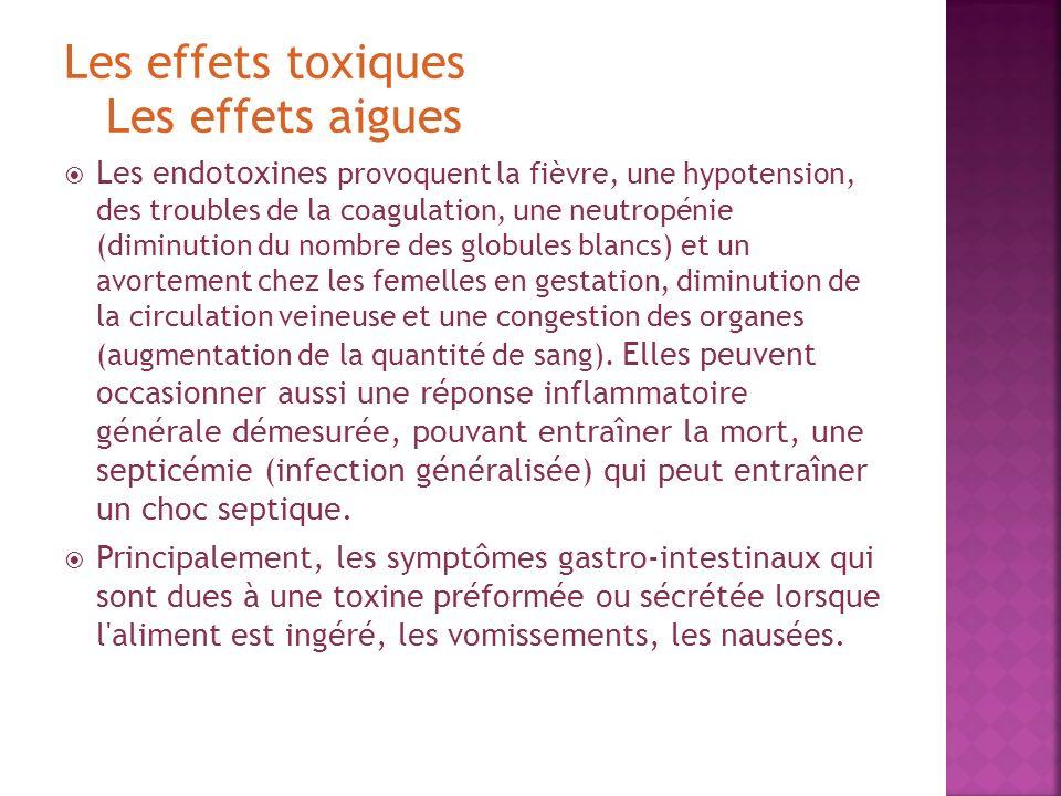 Les effets toxiques Les effets aigues