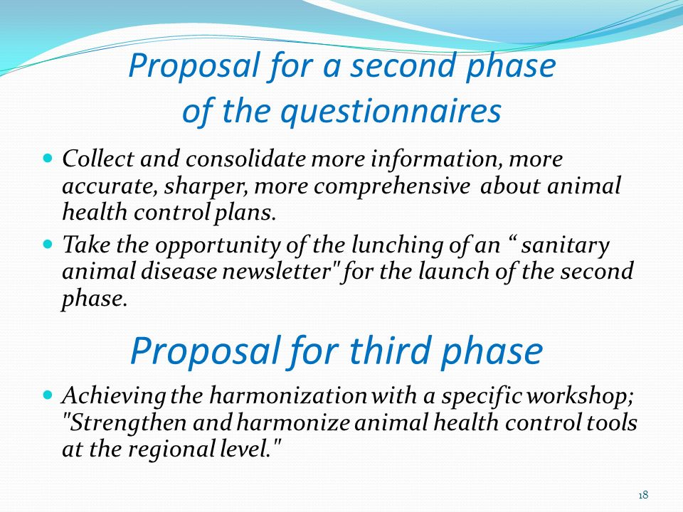Proposal for a second phase of the questionnaires