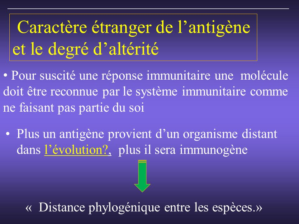 Caractère étranger de l'antigène et le degré d'altérité