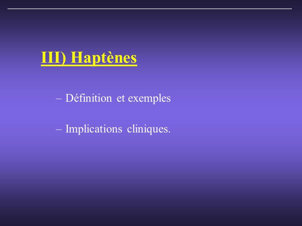 III) Haptènes Définition et exemples Implications cliniques.