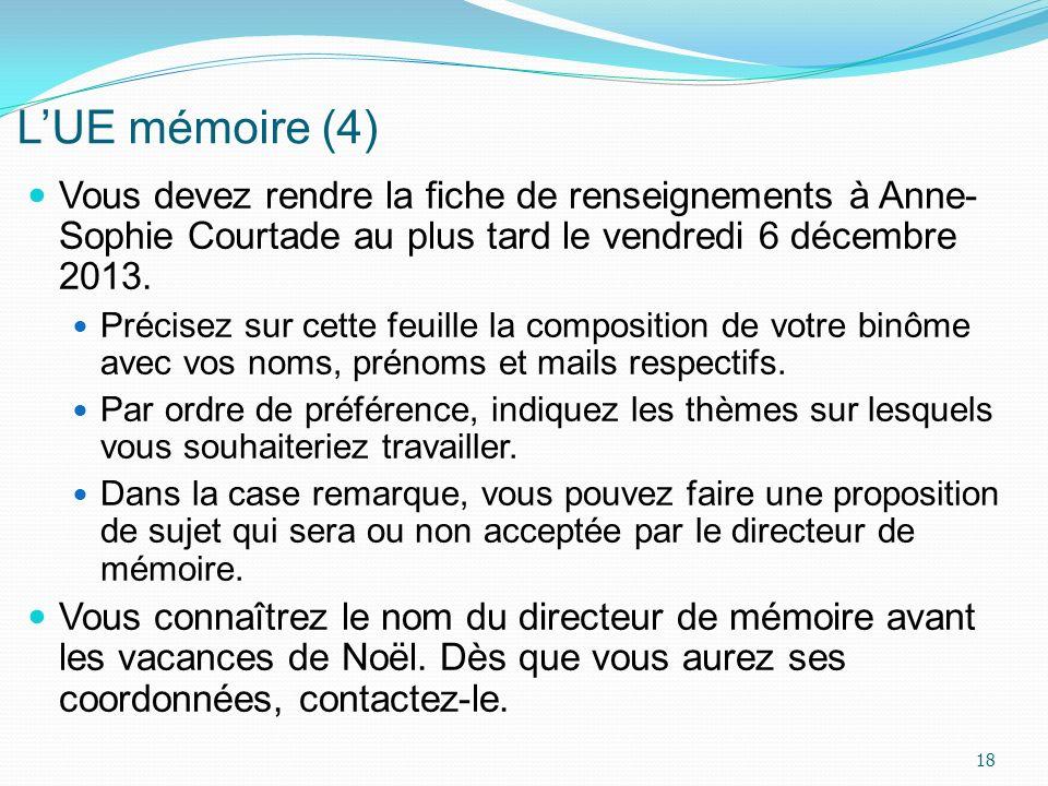 L'UE mémoire (4) Vous devez rendre la fiche de renseignements à Anne- Sophie Courtade au plus tard le vendredi 6 décembre 2013.