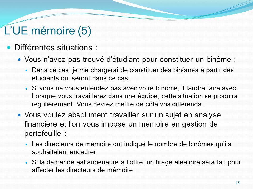 L'UE mémoire (5) Différentes situations :