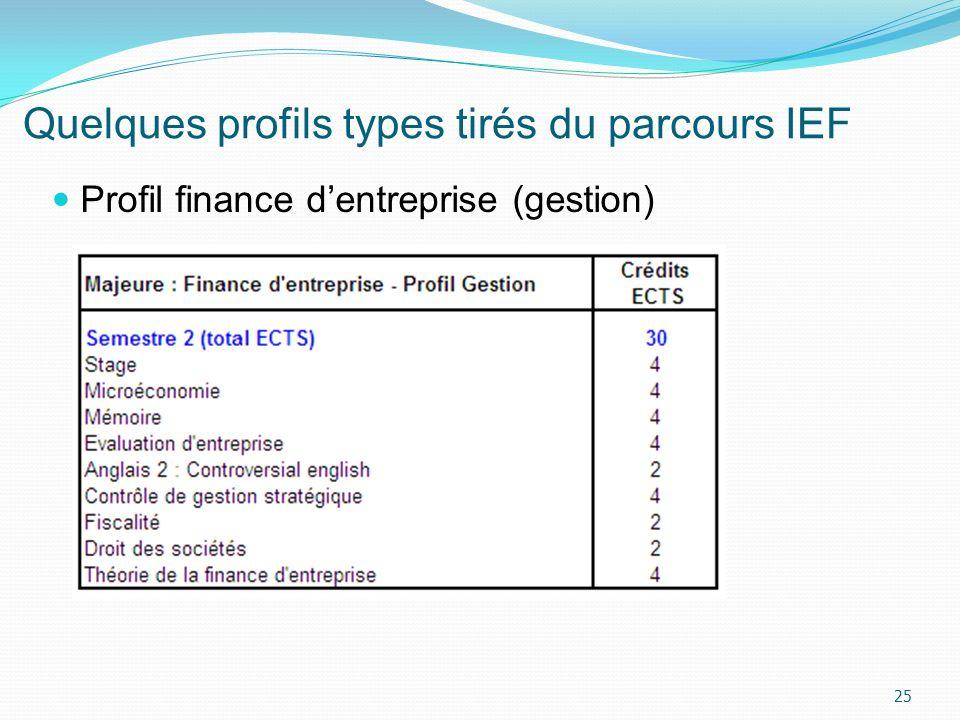 Quelques profils types tirés du parcours IEF