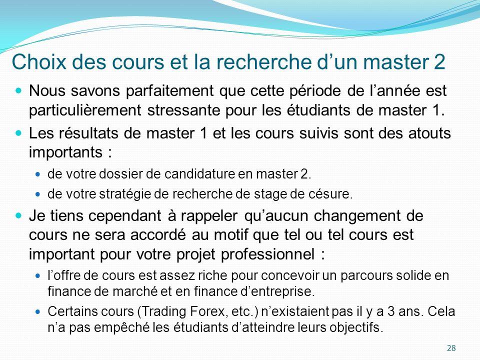 Choix des cours et la recherche d'un master 2