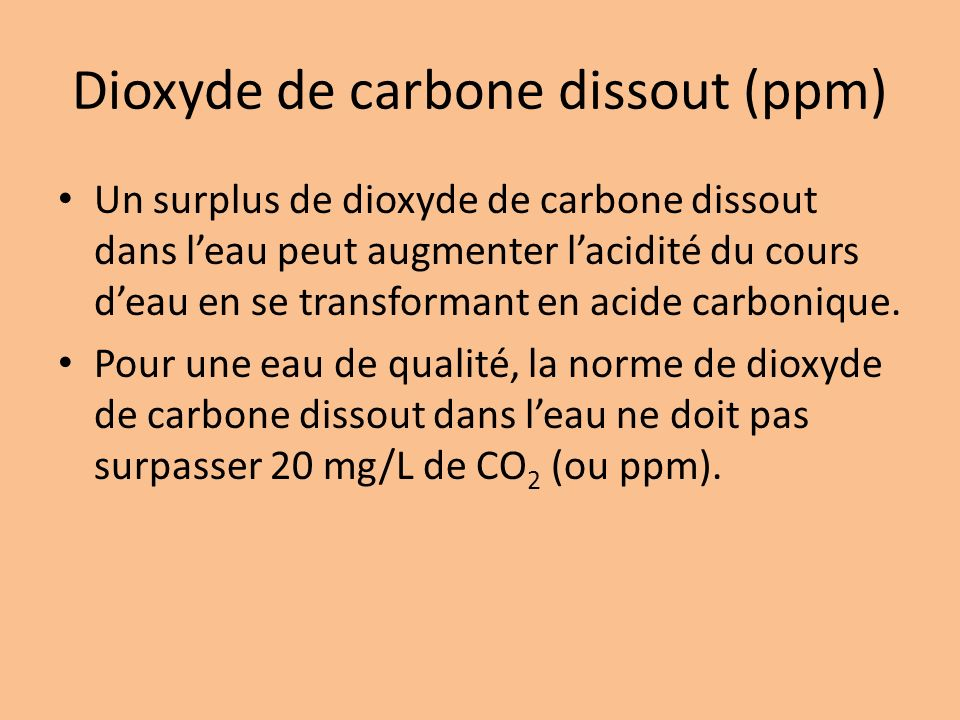 Dioxyde de carbone dissout (ppm)