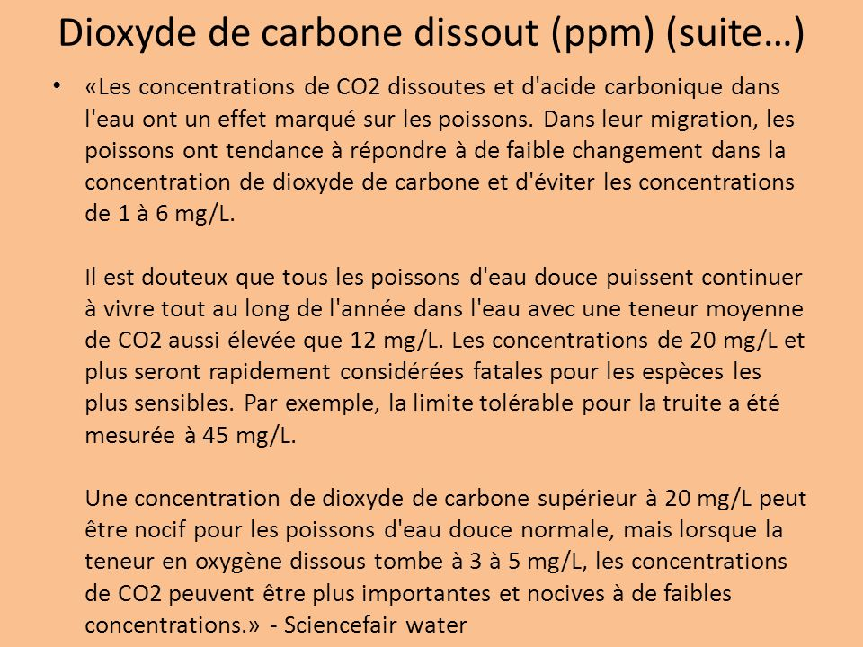 Dioxyde de carbone dissout (ppm) (suite…)