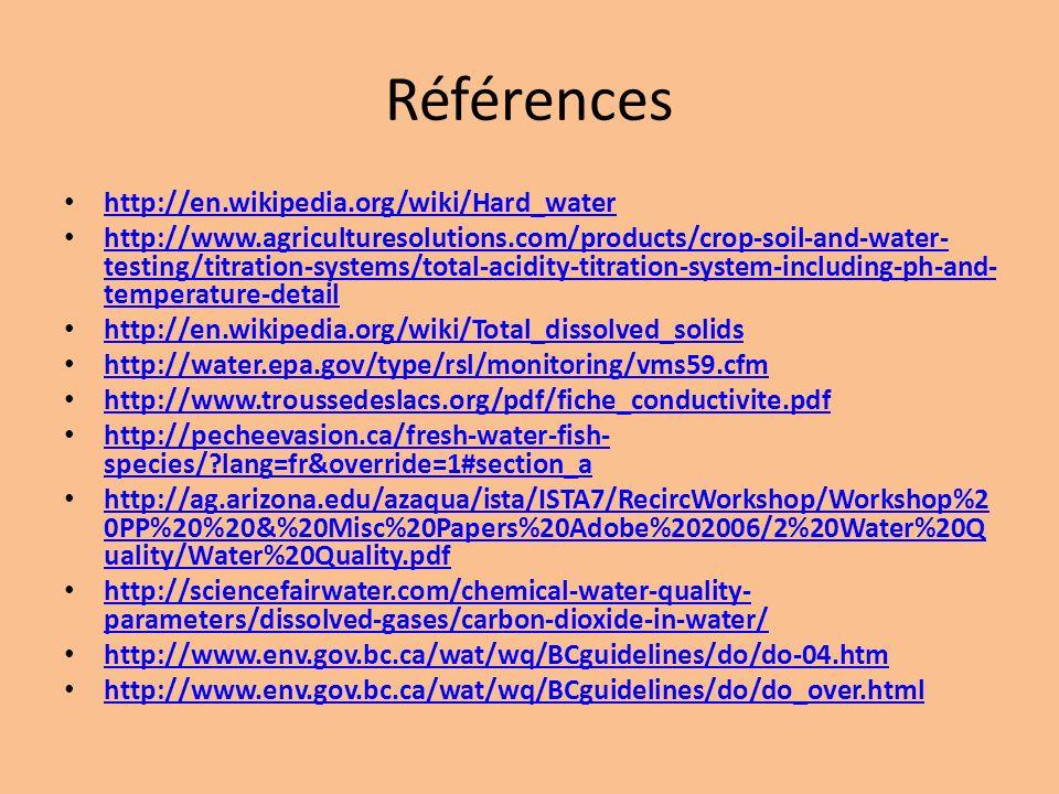 Références http://en.wikipedia.org/wiki/Hard_water