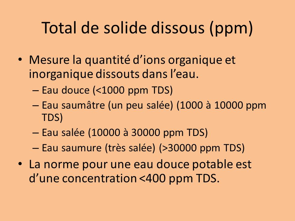 Total de solide dissous (ppm)