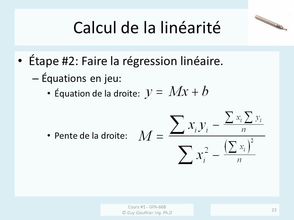 Calcul de la linéarité Étape #2: Faire la régression linéaire.