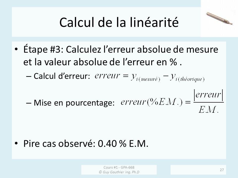 Calcul de la linéarité Étape #3: Calculez l'erreur absolue de mesure et la valeur absolue de l'erreur en % .