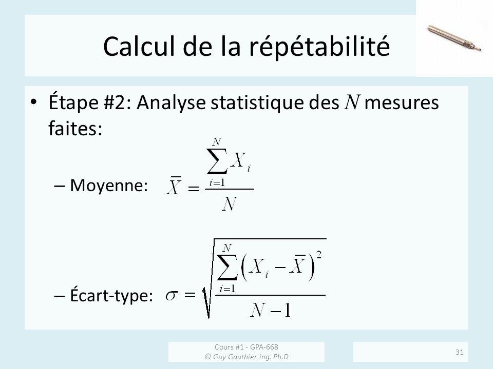 Calcul de la répétabilité