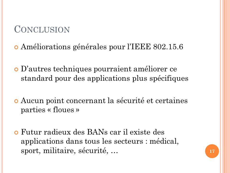 Conclusion Améliorations générales pour l'IEEE 802.15.6